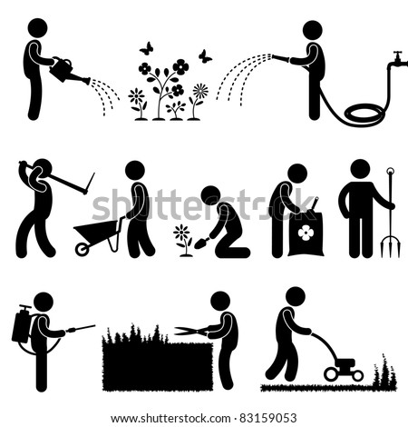 Man People Gardening Work Watering Plant Flower Cutting Fertilizer Insecticide Grass Pictogram Icon Symbol Sign - stock vector
