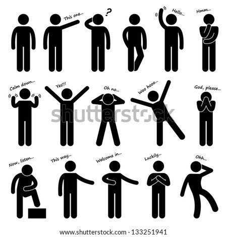 Man People Person Basic Body Language Posture Stick Figure Pictogram Icon - stock vector