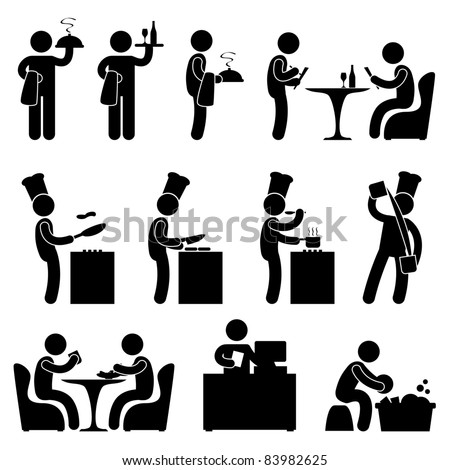 Man People Restaurant Waiter Chef Customer Icon Symbol Pictogram - stock vector