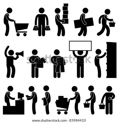 Man People Shopping Cart Buying Market Retail Sale Queue Business Commercial Icon Sign Symbol Pictogram - stock vector