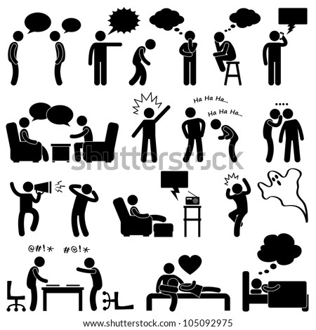 Man People Talking Thinking Conversation Thought Laughing Joking Whispering Screaming Chatting Icon Symbol Sign Pictogram - stock vector