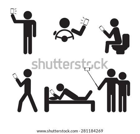 Man People using Smartphone vector illustration - stock vector