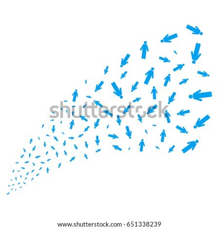 Man Person source stream. Vector illustration style is flat blue iconic symbols on a white background. Object fireworks fountain made from random pictograms.