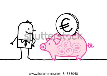 man & piggy bank - stock vector