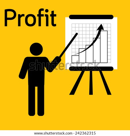 man plan profit for business on yellow background vector : business concept - stock vector