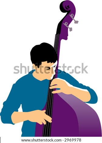 Man playing a purple upright bass - stock vector