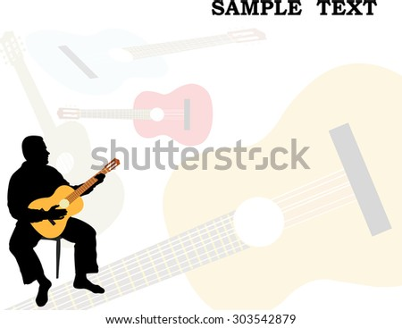 Man playing acoustic guitar silhouette flayer - stock vector