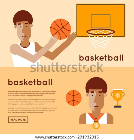 Man playing basketball game winner. 2 banners. Flat style vector illustration. - stock vector