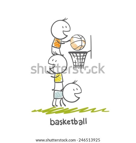 man playing basketball illustration - stock vector