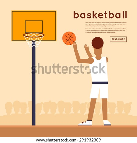 Man playing basketball. Man is throwing the ball in the basket. Flat style vector illustration. - stock vector