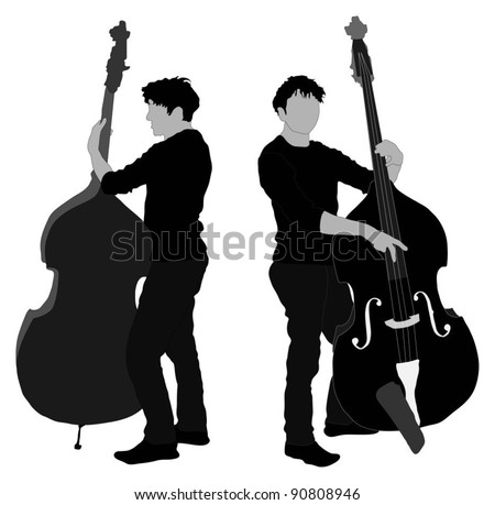 Man playing double bass - stock vector