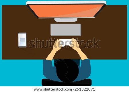 Man playing game with big screen. - stock vector