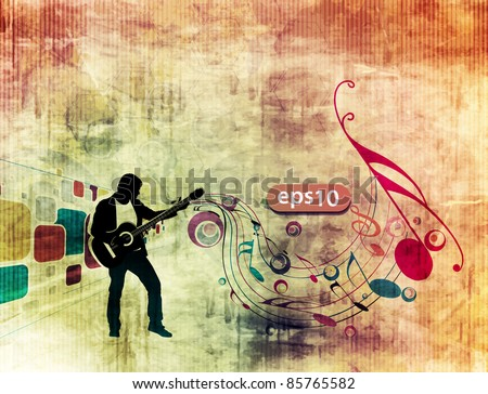 man playing guitar in grunge texture background. - stock vector