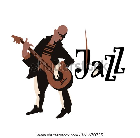 Man playing guitar. isolated on white background. Jazz inscription. Flat  vector illustration. Icon. - stock vector