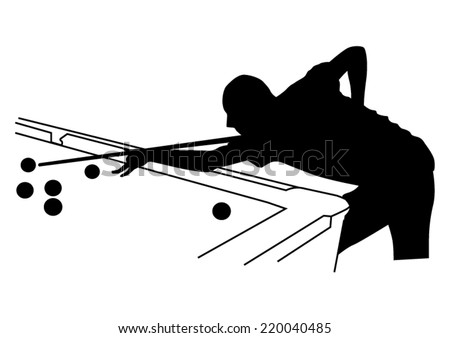 Man playing in the billiards silhouette - stock vector