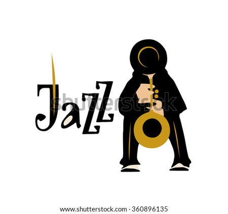 Man playing saxophone isolated on white background. Jazz inscription. Vector illustration.  - stock vector