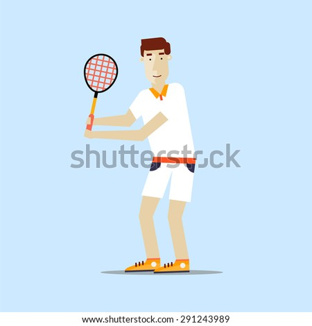 Man playing tennis. Sport competitions. Flat design vector illustration. - stock vector
