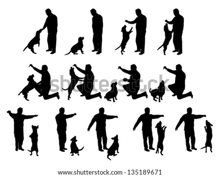 man playing with a dog vector silhouettes, black and white - stock vector
