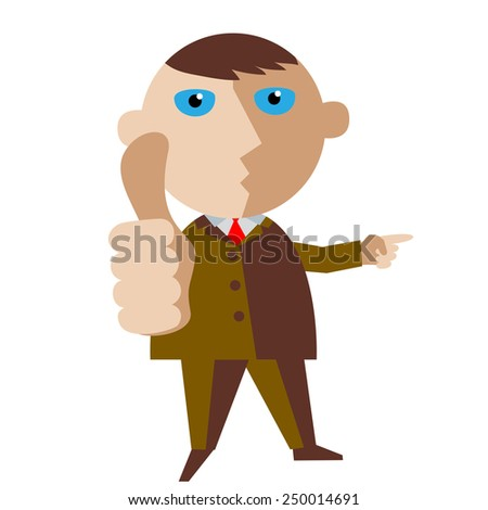 Man pointing to where the better. - stock vector