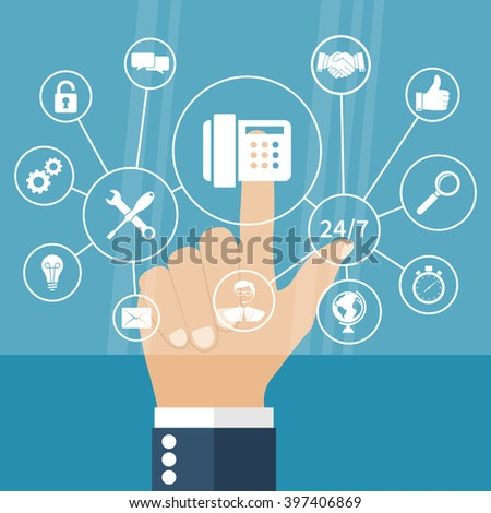 Man points to the virtual touch screen keyboard on concept technical support. Network call center. Modern computer technology. Vector illustration flat design style.  Set support icons. - stock vector