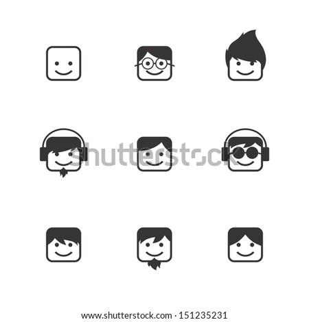 man portrait avatar character set - stock vector