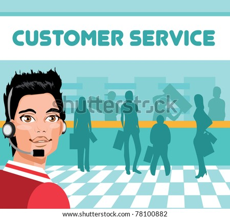 Man portrait customer service/tech support and group of customers. operator talking on headset, smiling - stock vector