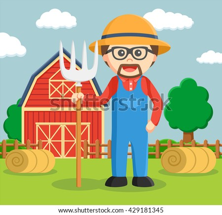 man pose in front of granary - stock vector