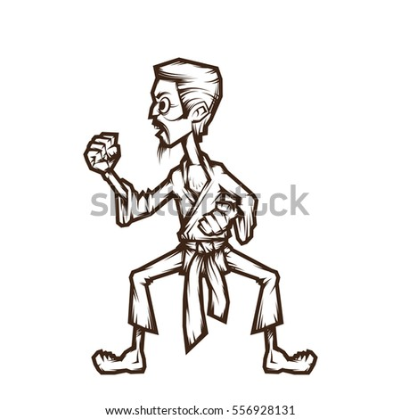 Man practicing karate. Line Art. Vector illustration.