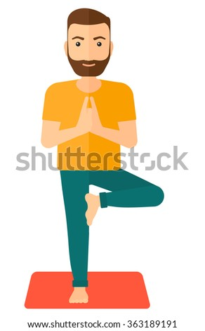 Man practicing yoga. - stock vector