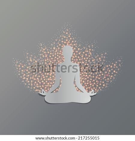 Man practicing yoga asana lotus. Cut-out paper Design. - stock vector