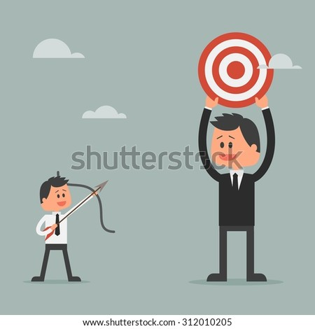 Man prepare shooting arrow to target. Goal achievement and success concept. Motivation concept to be successful in business and life. Vector illustration in flat design. - stock vector