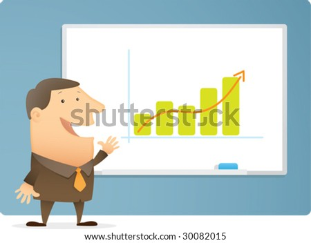 Man Presentation Bar Chart on white board - stock vector