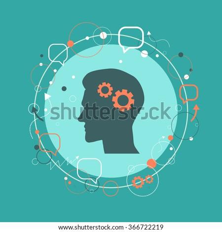 Man profile silhouette portrait with cogwheels. Brain activity, psychology, learning, progress, communication concept. Vector illustration. - stock vector