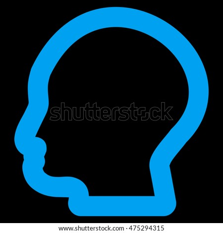 Man Profile vector icon. Style is contour flat icon symbol, blue color, black background.