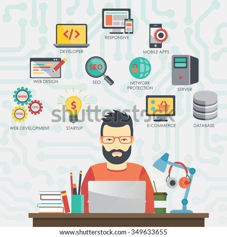 Man programmer is working on his laptop. Coding and programming. Programmer coding, Programmer concept, Programmer illustration, Programmer image, Programmer icons. - stock vector