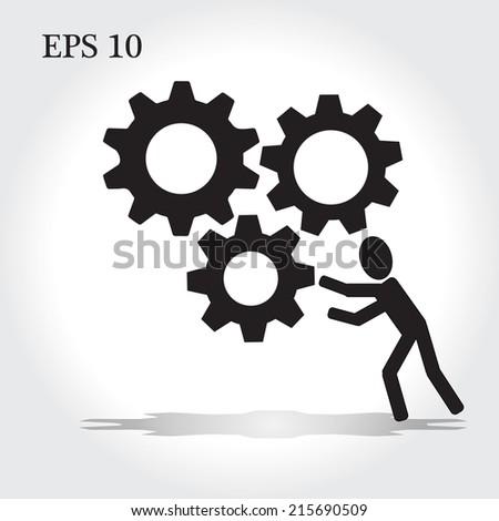 man pushing cog wheel vector,drive worker concept vector - stock vector