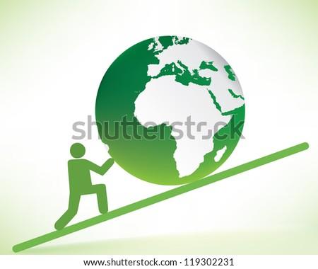 man pushing the earth - stock vector