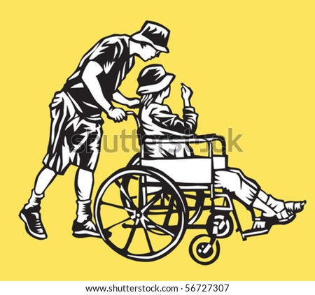 man pushing woman in wheelchair - stock vector