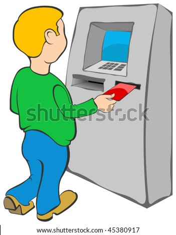 Man puts credit card into ATM - stock vector