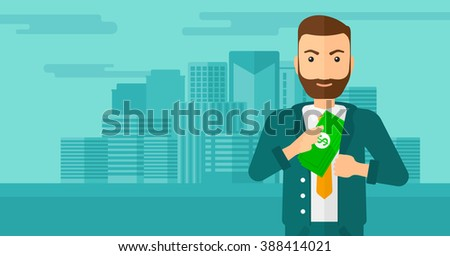 Man putting money in pocket.