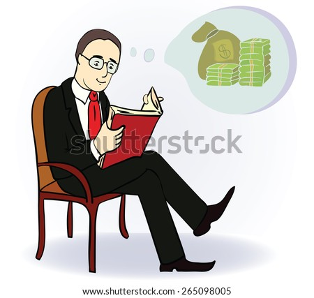 Man reading book and think about money. Cartoon illustration. Vector illustration - stock vector