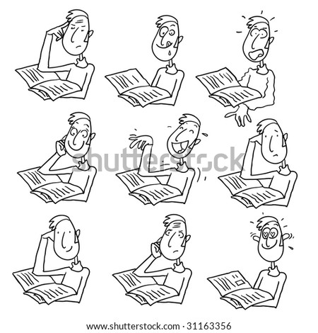 man reading cartoons  expressions, vector drawing - stock vector