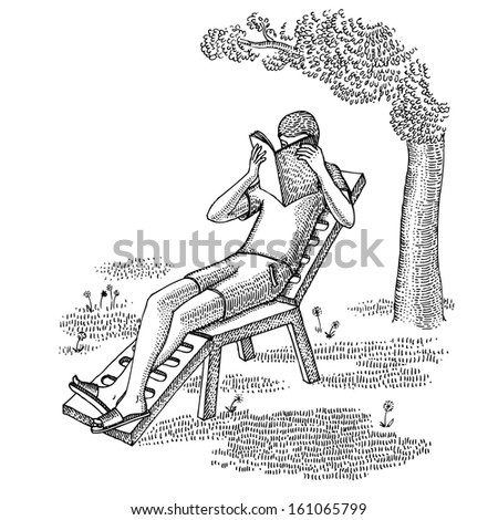 Man reading the book on vacation  - stock vector