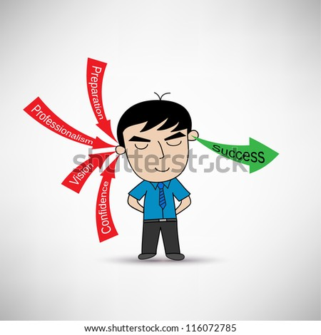 Man Receive Key Concept For Success in Business Vector - stock vector
