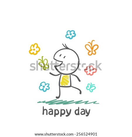 man rejoices happy day illustration - stock vector