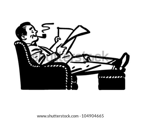 Man Relaxing In Easy Chair - Retro Clipart Illustration - stock vector