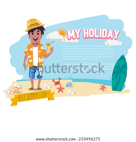 Man Relaxing on the beach with cocktail. presenting. holiday concept - vector illustration - stock vector