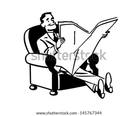 man relaxing newspaper retro clip art stock photo photo vector rh shutterstock com woman relaxing clipart relaxing clip art free
