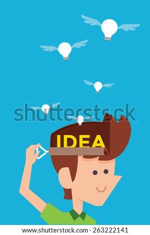 man releasing idea bulb flat cartoon design - stock vector