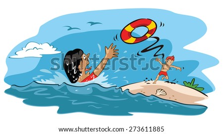Man rescues drowning woman - stock vector